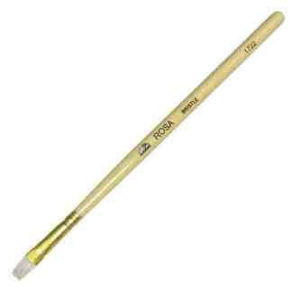 Кисточка «Rosa» 1722 Щетина плоская №04 длинная ручка белый ворс