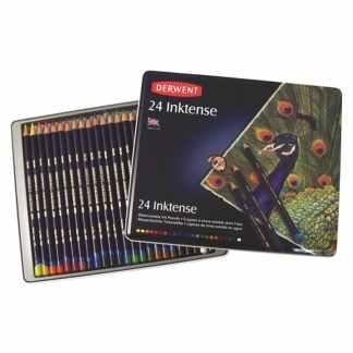 Набор акварельных карандашей Inktense (имитация китайской туши) 24 цвета в металлической коробке Derwent