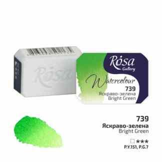 Акварельная краска 739 Ярко-зеленый 2,5 мл кювета Rosa Gallery