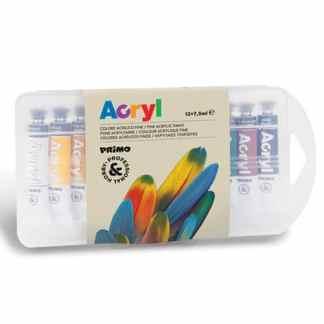 Набор акриловых красок 12 цветов по 7,5 мл в пластиковом боксе Primo Италия