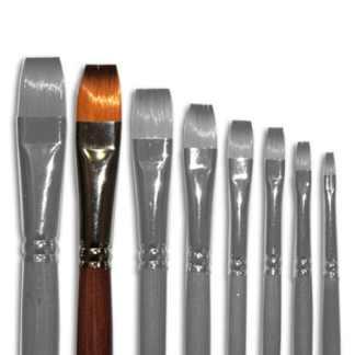 Кисточка «Живопись» 1112 Синтетика плоская № 14 длинная ручка рыжий ворс