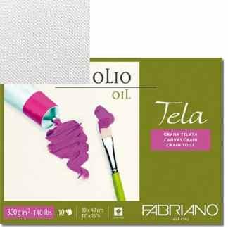 68001824 Альбом для масляной живописи Tela 18х24 см 300 г/м.кв. 10 листов Fabriano Италия