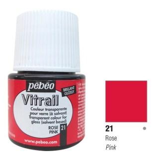 Краска по стеклу и металлу лаковая прозрачная Vitrail 021 Розовый 45 мл Pebeo
