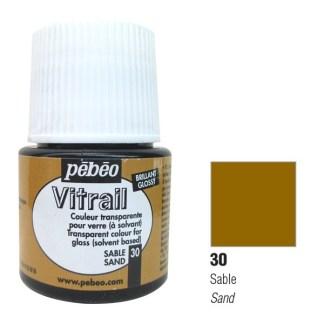 Краска по стеклу и металлу лаковая прозрачная Vitrail 030 Песочный 45 мл Pebeo