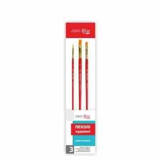 Набор кистей №5  синтетика 3 шт. ( 2 пл. и 1 кр.)  короткая ручка 184145 Rosa Start