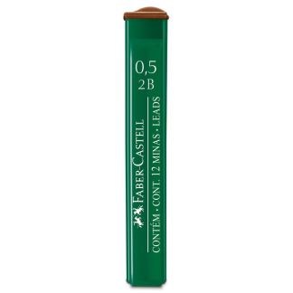 Грифель 0,5 мм 2B 12 штук в пенале Faber-Castell 9125