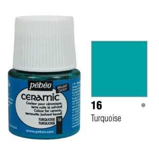 Краска-эмаль лаковая непрозрачная 016 Бирюзовый 45 мл Ceramic Pebeo