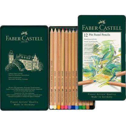 Набор пастельных карандашей Pitt 12 штук в металлическом пенале Faber-Castell