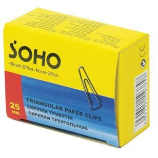 Скрепки треугольные 25 мм 100 штук Soho