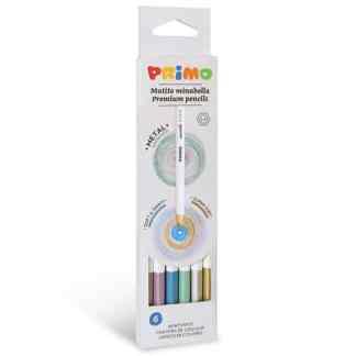 Набор металлизированных цветных карандашей Minabella 6 цветов в картонной коробке Primo Италия
