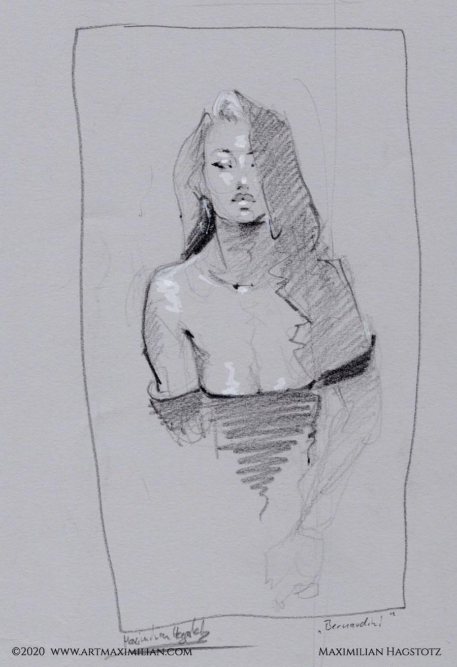 Porträt Bernardini Model Skizze Kunst neu Maximilian hagstotz Grafik Zeichnung verkauf Unikat shop