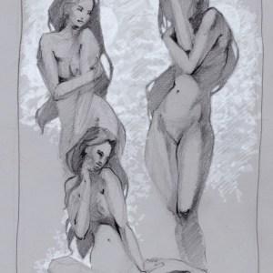 Drei Frauen im Wald neu nackt Skizze Idee Maximilian Hagstotz schwarzweiß Grafik Kunst