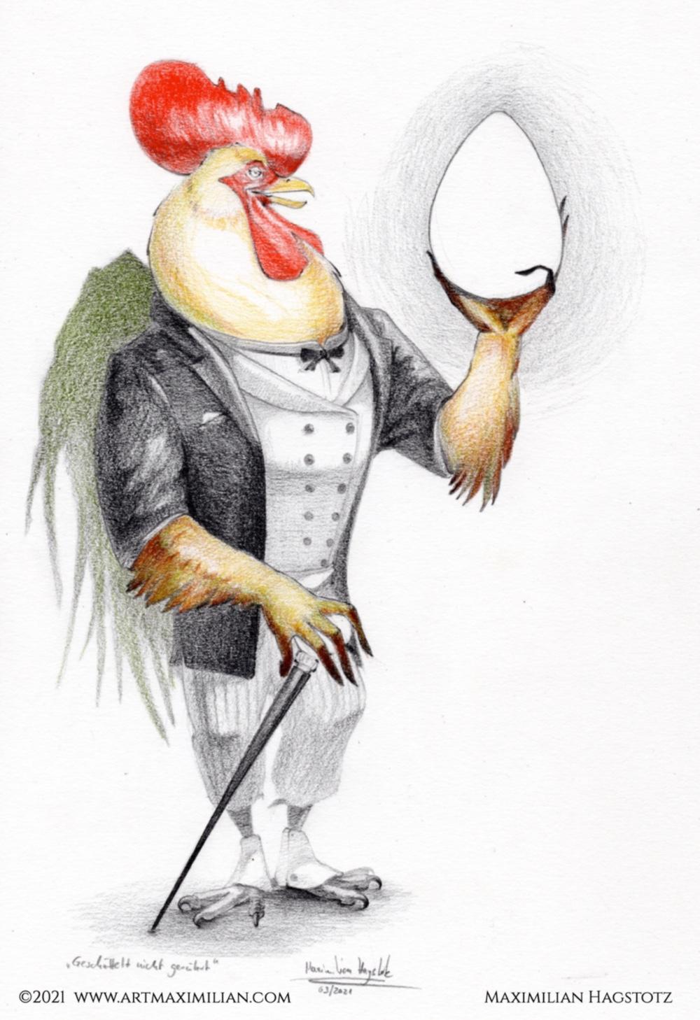 Ostern Zeichnung Grafik Kunst neu Maximilan Hagstotz gentleman Gockel ei geschüttelt nicht gerührt Anzug Farbe Geschenkidee stilvoll mann Frau gamaschen