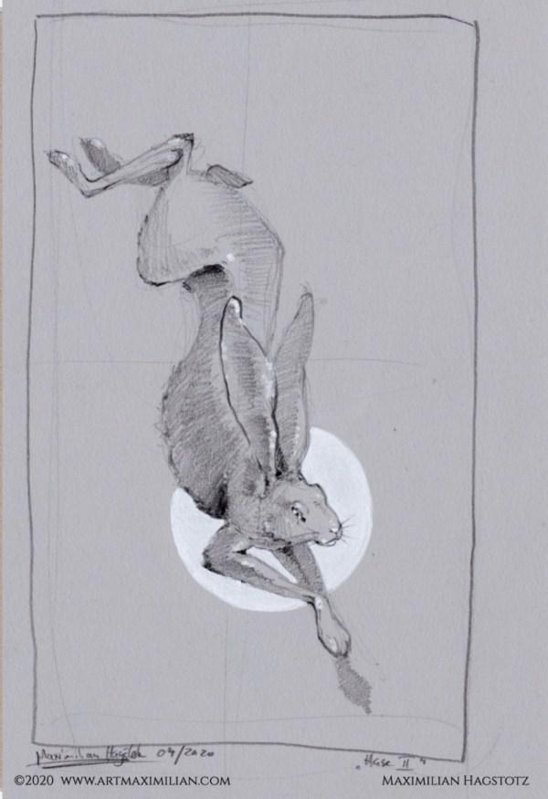 Ostern mond mase pose verstecken geschenkidee neu Kunst Zeichnung Grafik handgemacht Unikat Bewegungsstudie