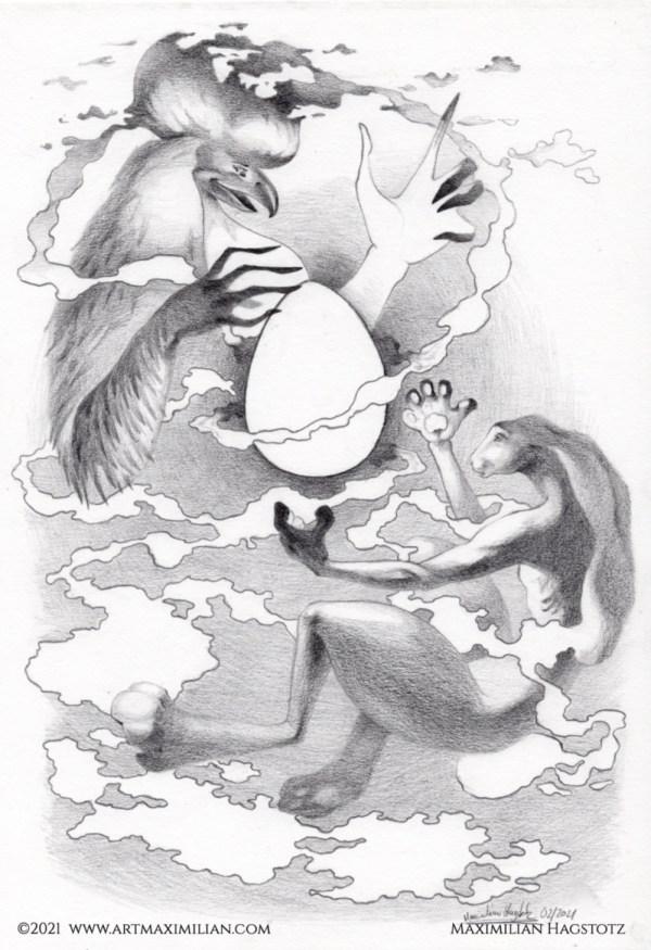 das heilige ei beschwören Hase und Hahn im Nebel Kunstwerk von Maximilian Hagstotz Grafik individuell neu Geschenkidee Freude zu Ostern Mann Frau