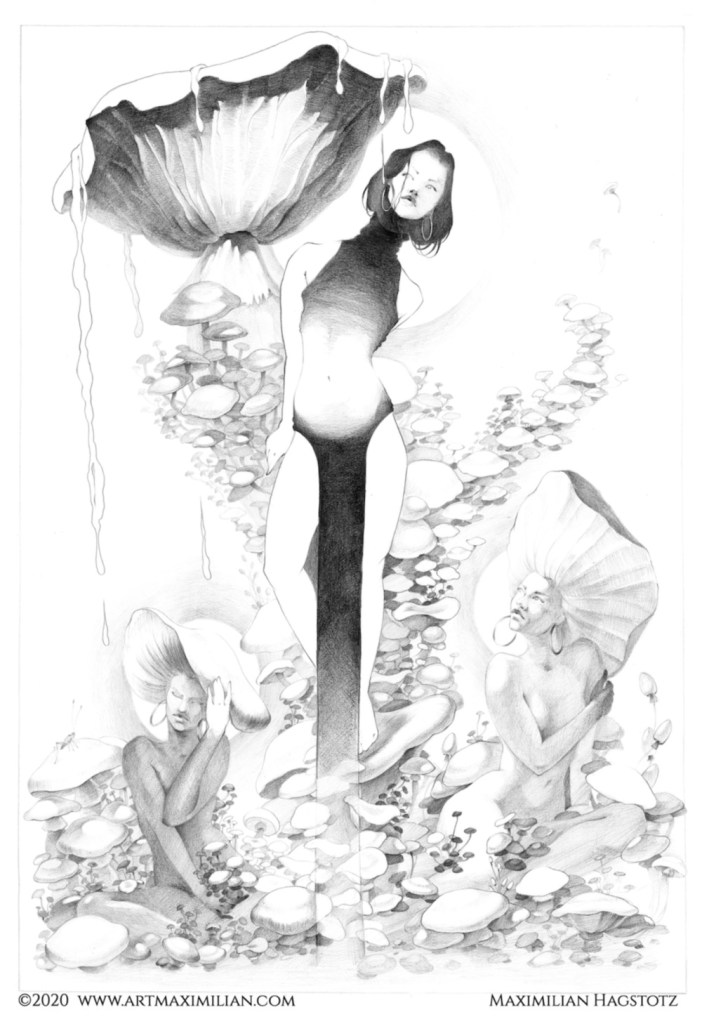 Jahreszeiten opulent Jugendstil Krokus Nebel Frauen Nackt Natur Schneeglöckchen sexy Däumelinchen Zeichnung Neu Maximilian Hagstotz art nuvou Deko Wandkunst individuell modern Unikat Papier Herbst Pilze Saft des Lebens
