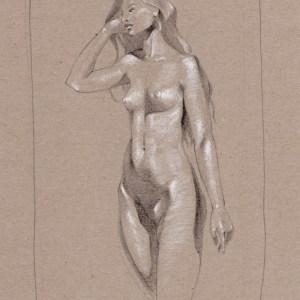Akt sitzend wie fühlst du dich Maximilian Hagstotz Neu Grafik Zeichnung Licht Schatten sexy sinnlich lange haare