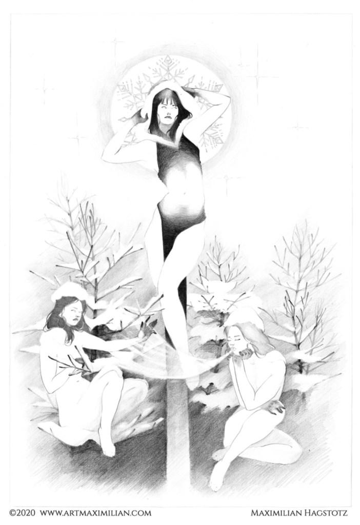 Jahreszeiten opulent Jugendstil Krokus Nebel Frauen Nackt Natur Schneeglöckchen sexy Däumelinchen Zeichnung Neu Maximilian Hagstotz art nuvou Deko Wandkunst individuell modern Unikat Papier Winter Schnee eis Flocken Kapuze frost wind