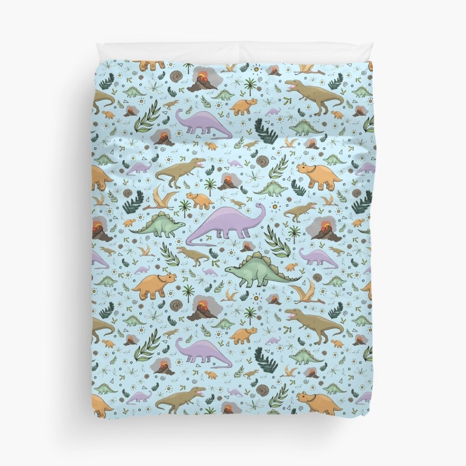 25 dinosaur duvet covers you should see | Hand-drawn dinosaurs in blue pattern duvet cover by Nemki | Source: Redbubble