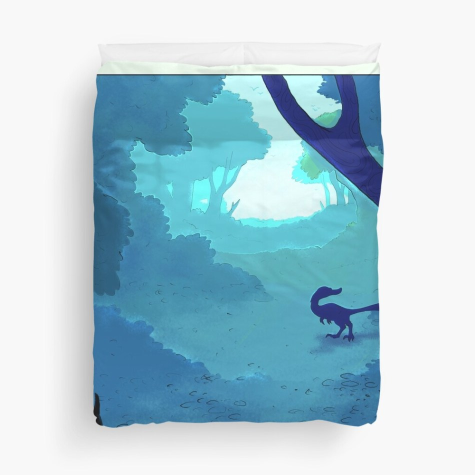 25 dinosaur duvet covers you should see | Dromaeosaur dinosaur in blue Duvet Cover by Flumpy Tripod | Source: Redbubble