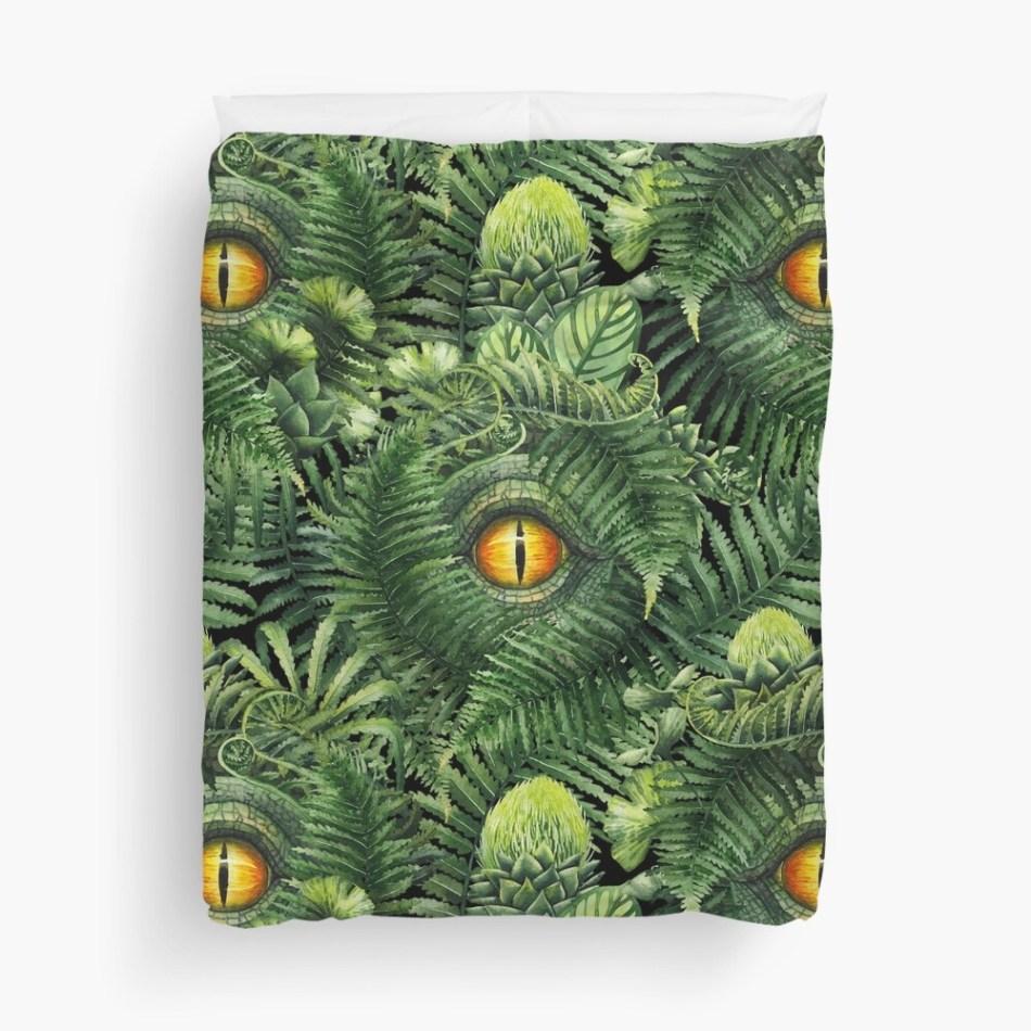 25 dinosaur duvet covers you should see | Watercolor dinosaur eye and prehistoric plants pattern Duvet Cover by Ekaterina Glazkova | Source: Redbubble