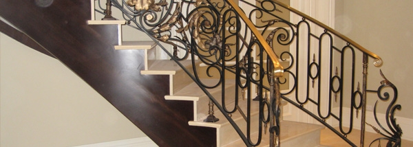 Chicago Wrought Iron Staircase Railings Indoor Exterior Balusters   Custom Iron Stair Railing   Residential   French   Metal   Banister   Iron Work