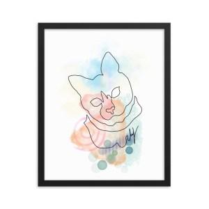 Abstract Line Art Watercolor Cat Portrait Framed Wall Art   Cat #3