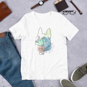 One Line Abstract Art Dog Portrait Short-Sleeve Unisex T-Shirt