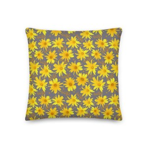 Yellow Coreopsis Daisy Floral Patterned Beautiful Throw Pillow