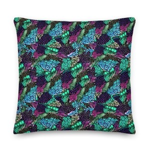 Hand Drawn Zentangle Doodles and Watercolor Patterned Premium Pillow