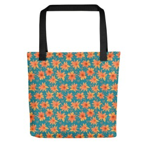 Fun and Full of Love Orange Coreopsis Floral Pattern Tote Bag with Hearts