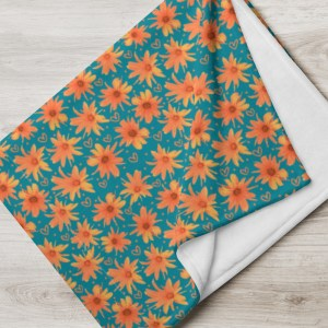 Orange Coreopsis Daisy Flower Pattern Throw Blanket with Doodle Hearts