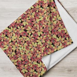Orange Spring Hepatica Flower on Black Pattern Throw Blanket