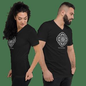 Custom Text Mandala Line Art Unisex Short Sleeve V-Neck Black T-Shirt #16