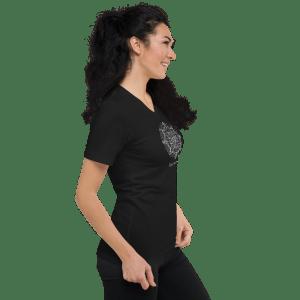 Custom Text Mandala Line Art Unisex Short Sleeve V-Neck Black T-Shirt #10