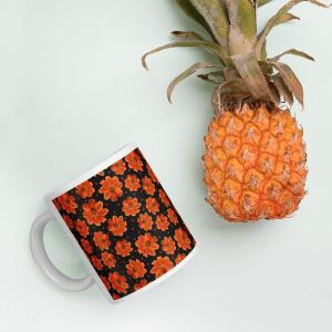 Orange Zinnia Floral Pattern Glossy Ceramic Mug