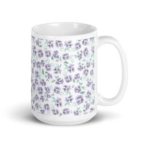 Purple Watercolor Pansies Floral Pattern Glossy Ceramic Mug