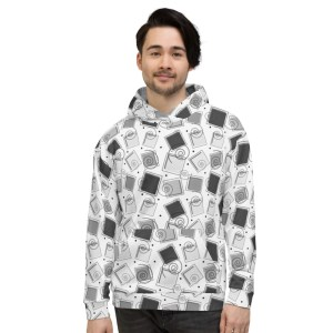Geometric Pattern Black and White Unisex Hoodie