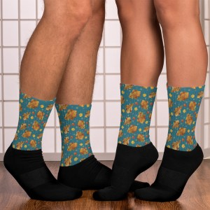 Autumn Themed Yellow Leaves Pattern Dark Teal and Black Socks