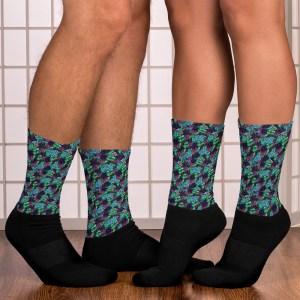Blue Watercolor Zentangle Pattern Black Socks