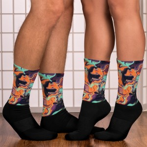 Cool and Bright Fluid Art Black Socks