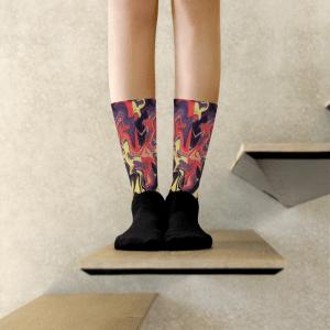 Fiery Fluid Art Socks