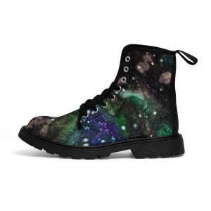 Women's Watercolor Galaxy Green Canvas Boots