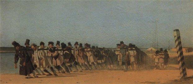 Vasily Vereschagin. Boat-haulers. 1866