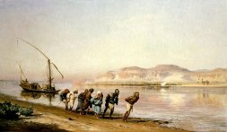 Frederick Arthur Bridgman Scene de Halage sur le Nil. 1875