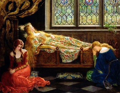 The Sleeping Beauty(1921), oil on canvas painting by the pre-Raphaelite English writer and painter John Maler Collier (1850-1934)