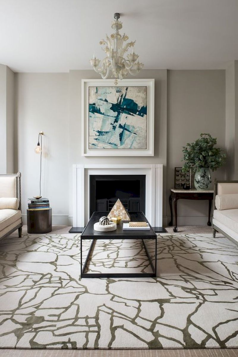 50 Best Living Room Decor Ideas With Artwork Rugs (7)