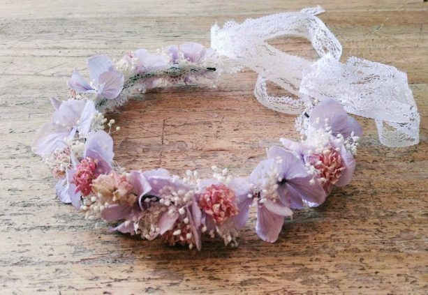 corona con hortensias