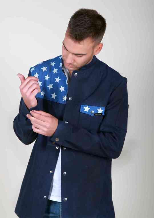 Jacket jean μακρύ μανίκι & μοναστηριακό γιακά