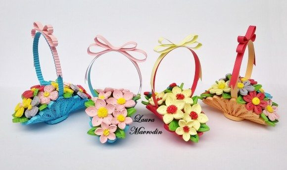 How To Make Quilling Basket Of Flowers Bouquets Art